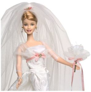 2002 Sophisticated Wedding Bride Barbie Doll close up