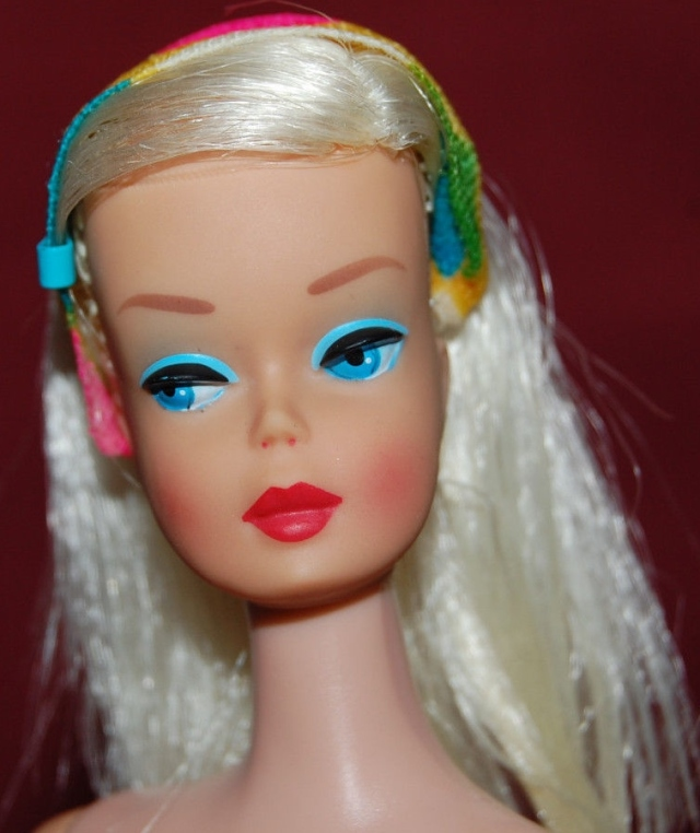 Platinum Blonde Color Magic Barbie Prototype Rare Malibu Legs Doll - close up head