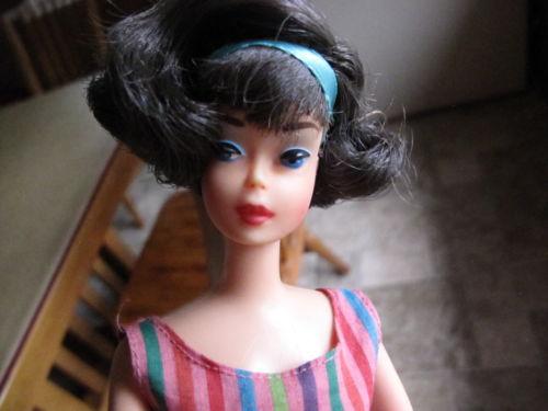 1965 Pink-Skinned Bendleg Side Part American Girl black h