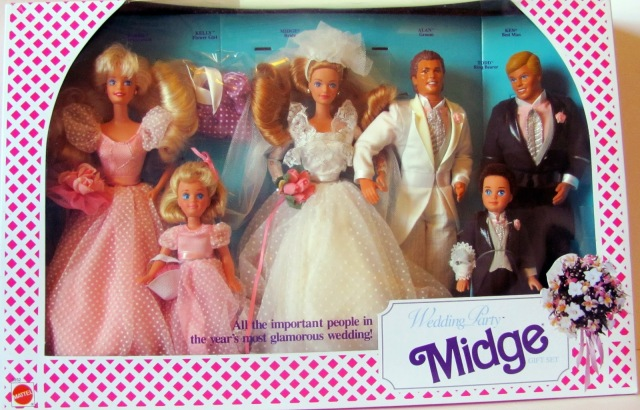 1991 Midge Wedding Party gift set with Alan, Barbie, Ken, Kelly and Todd