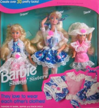 1993 Sharin' Sisters gift set with Barbie, Skipper and Stacie