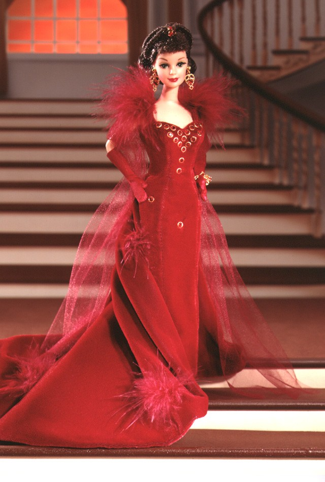 1994 Scarlett O'Hara in red gown