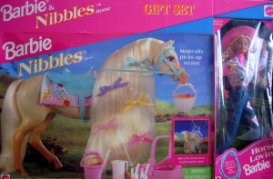 1996 BJ's Club Barbie & Nibbles Horse gift set