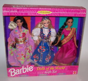 1996 Dolls of the World gift set with Japanese, Norwegian and Indian