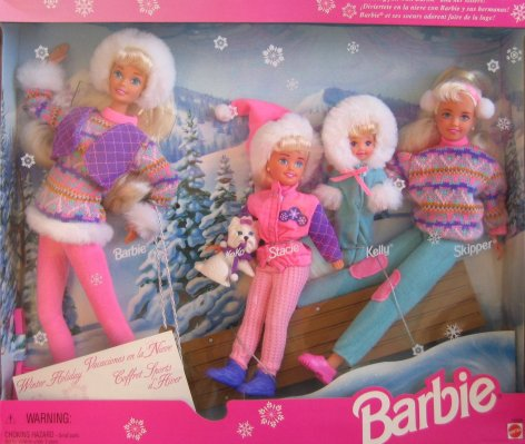 1996 Toys R Us Winter Holiday with Barbie, Skipper, Stacie and Kelly