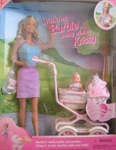 2000 Walking Barbie and New Baby Sister Krissy doll