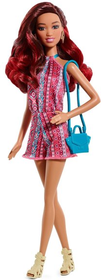 Barbie Fashionistas Mixed Race Doll, Pink Sleeveless Dress