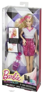 Barbie Glitz & Glam Hair and Nail Doll Pink nrfb