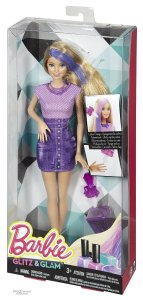 Barbie Glitz & Glam Hair and Nail Doll Purple nrfb