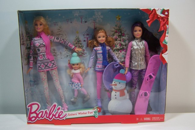 Barbie Sisters Winter Fun 2015 Snowboarding Sledding Ice Skating Christmas