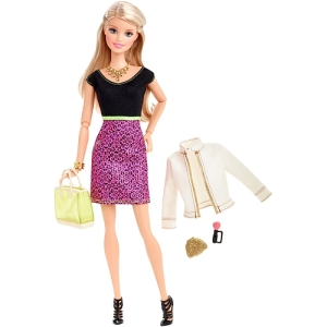 Barbie Style Glam Doll - Black and Pink Leopard Print Dress set