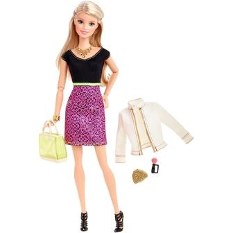 Barbie Style Glam Doll - Black and Pink Leopard Print Dress set