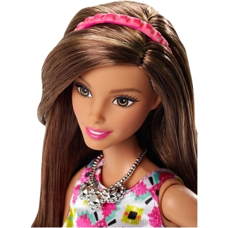 Barbie Style Glam Doll - Pink Retro Print Dress face