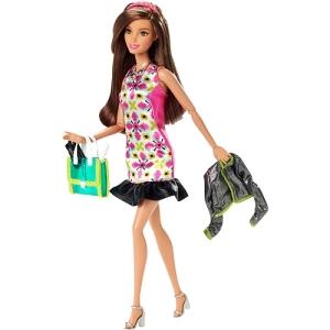 Barbie Style Glam Doll - Pink Retro Print Dress