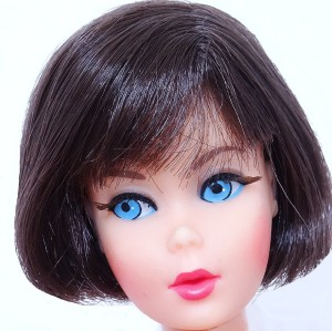 Dark Brunette Hair Fair Barbie Head