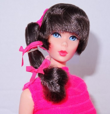 Dark Brunette Side Ponytail Talking Barbie Doll face