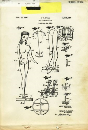 NO2 Barbie Original Patent from the Patent & Trademark Office John W. Ryan 3,009,284. The application was filed on July 24, 1959 and patented on November 21, 1961.