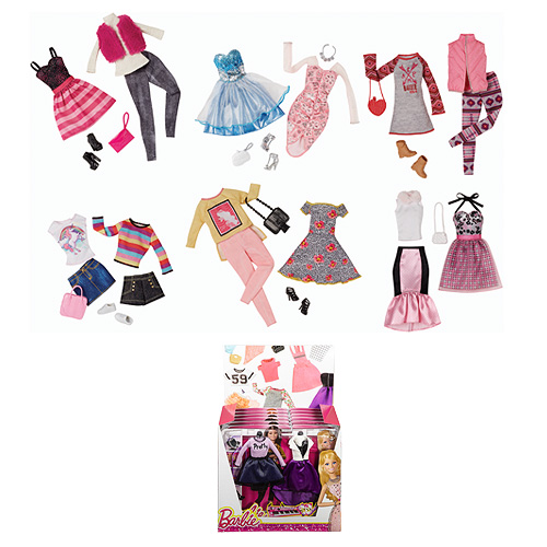 The Barbie Fashion Accessory 2-Packs Case includes 6 individually packaged 2-packs, with each fashion 2-pack including four fashion pieces, one pair of shoes, and accessories.
