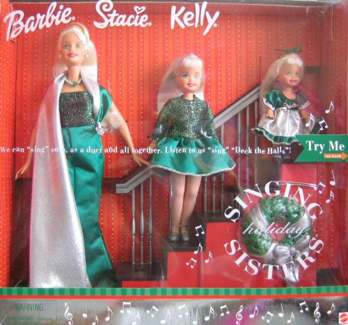 2000 Holiday Singing Sisters Barbie Stacie Kelly Dolls