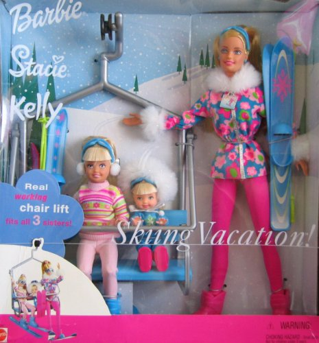 2000 Skiing Vacation,  Barbie Stacie Kelly Dolls Giftset.
