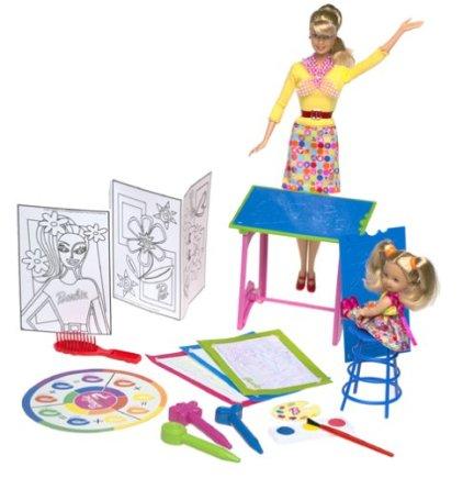 2001 Art Teacher Barbie & Kelly Dolls