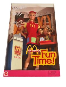 2001 McDonald's Fun Time! Barbie and Kelly dolls Giftset