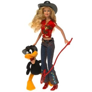 2003 Looney Tunes Daffy Duck  and Barbie Doll Giftset. f