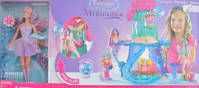 2006 BARBIE Fairytopia FANTASTIC MERMAIDIA GIFTSET 2 FEET Tall w Glitter Swirl FAIRY DOLL (2006 KOHL'S EXCLUSIVE)