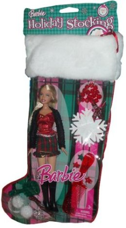 2007 Holiday Stocking Set - Barbie Doll in Christmas Outfit with Pendant