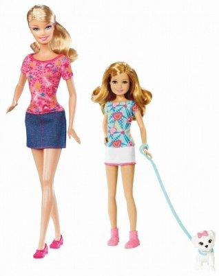 2011 Barbie Sisters Pup Walk Barbie Stacie dolls