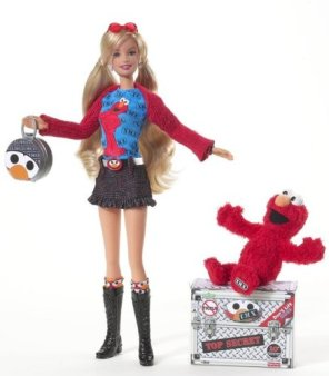T. M. X. Tickle Me, Elmo and Barbie Doll. f