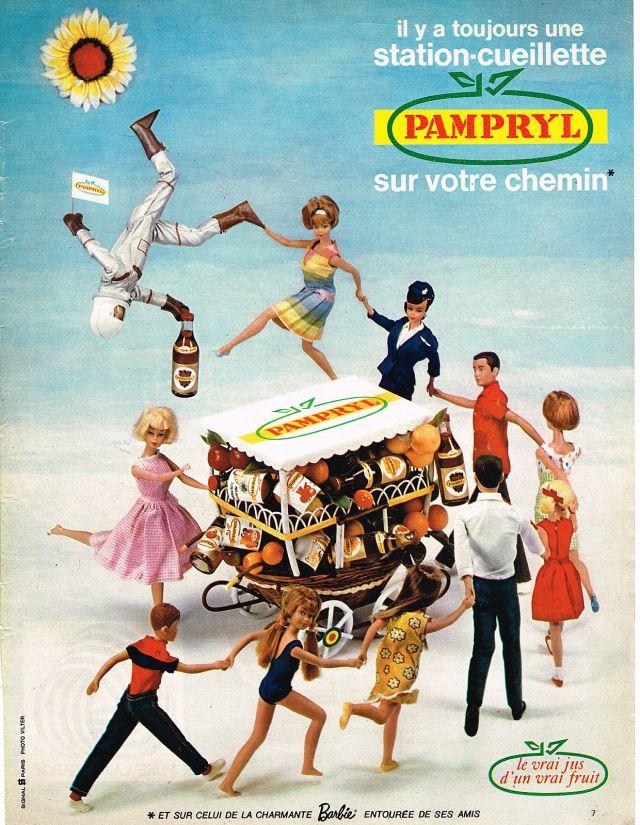 1966 PAMPRYL jus de fruit & la poupée BARBIE