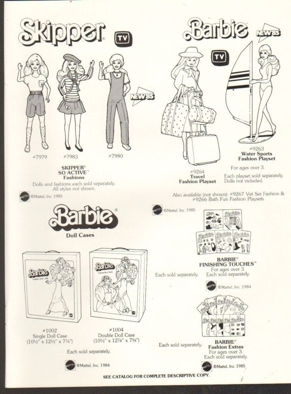 1984 VINTAGE AD SHEET #1329- MATTEL - BARBIE DOLL - CASES - SO ACTIVE FASHIONS