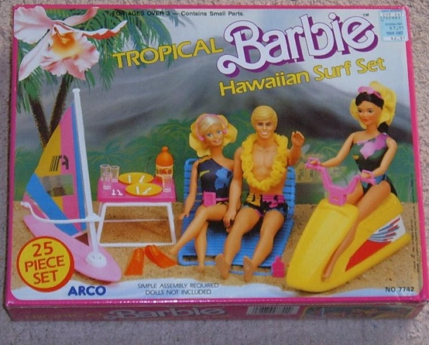 1985 Barbian Tropical Hawaiian Surf Set (Arco Toys - Mattel).