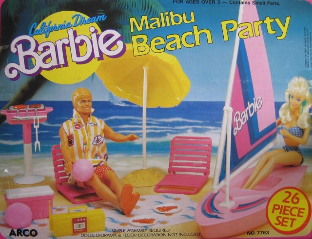 1987 California Dream BARBIE Malibu Beach Party 26 Piece Playset (Arco Toys - Mattel)