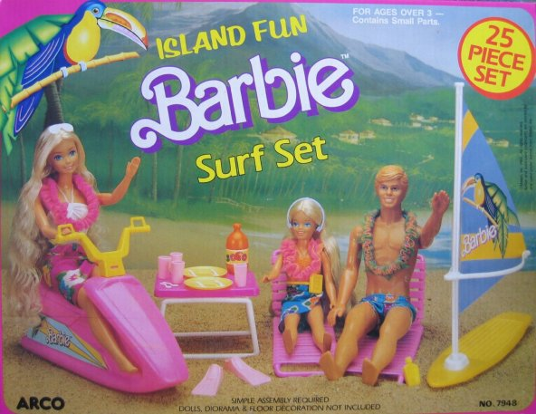 1987 Island Fun Barbie Surf Set 25 Piece Set (Arco Toys - Mattel)