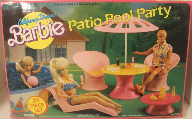 1988 Barbie California Dream Patio Pool Party 29 Piece Set - Item No. 7767