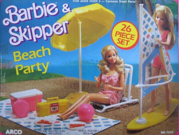 1988 Barbie & Skipper Beach Party Playset w 26 Pieces (Arco Toys - Mattel)