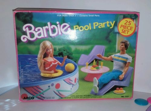 1989 #7321 Barbie Doll Pool Party Set 25 (Arco Toys - Mattel)