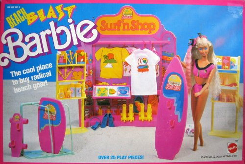 1989 Beach Blast BARBIE Surf 'n Shop Playset 25+ Play Pieces (Mattel Hawthorne)