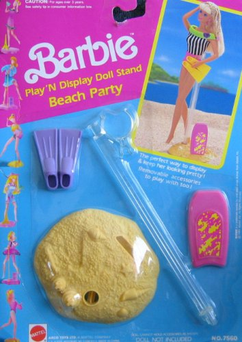 1991 Barbie Beach Party Play 'N Display Doll Stand (Arco Toys - Mattel) NRFP