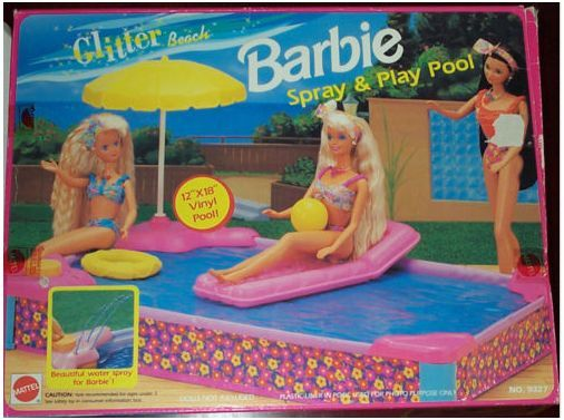 1992 Glitter Beach Barbie Spray & Play Pool Playset