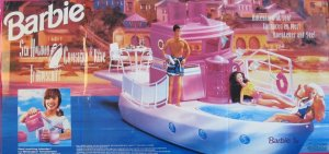 1993 BARBIE 'SEA HOLIDAY' Yacht CRUISE SHIP Approx. 3 FEET Long Playset w Working BLENDER & More!
