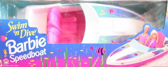 1994 Swim 'n Dive BARBIE Speedboat - BOAT Fits 2 Barbie Size Dolls (1994 Arcotoys, Mattel)