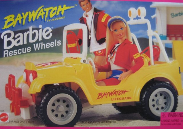 1995 Baywatch BARBIE Rescue Wheels Jeep Style Lifeguard Vehicle Car (Arco Toys - Mattel)