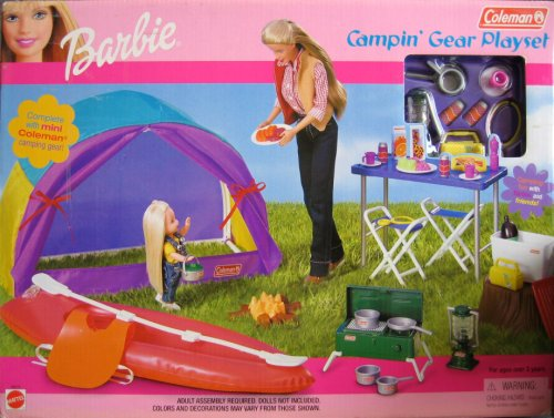 2001 Barbie Coleman Campin' Gear Playset w Mini Coleman Camping Gear