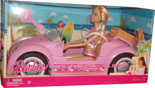 2008 Surf's Up Cruiser and 12 Inch Doll Playset - Pink Convertible Cruiser with Barbie Doll