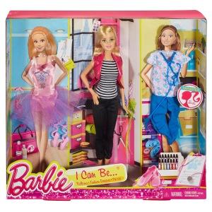 2016 Barbie I Can Be...Ballerina, Fashion Designer and Pet Vet - Dol NRFB