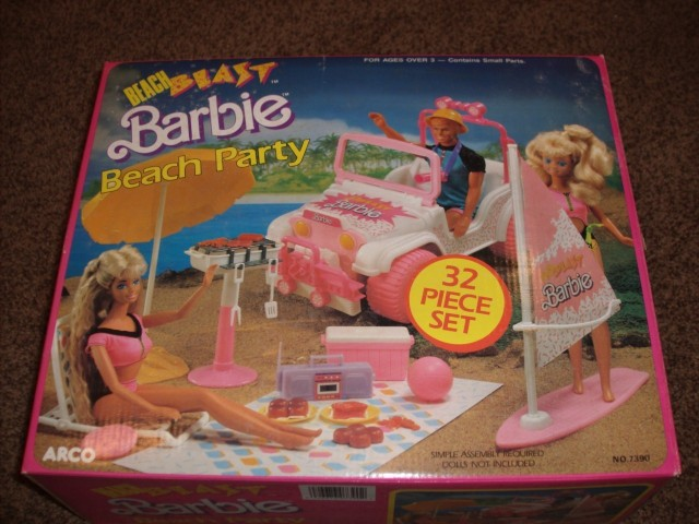 989 Beach Blast Barbie Beach Party - 32 Piece Set (Arco Toys - Mattel) - NRFB set.