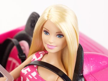 Barbie and Convertible car face